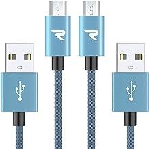 【2本組/青】 Rampow Micro USBケーブル 2.4A急速充電 / 高速データ転送対応 5000+回の曲折テスト 高耐久編組ナイロンケーブル Android microusb対応 マイクロusbケーブル