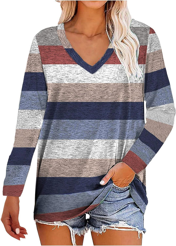 Purchase BFSAUHA Women Long Sleeve Under blast sales Tops Striped Colorblock Sweat Pullover