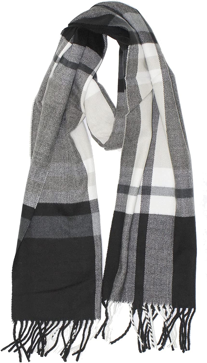 New Soft Cashmere Feel Plaid Check and Solid Winter Scarf