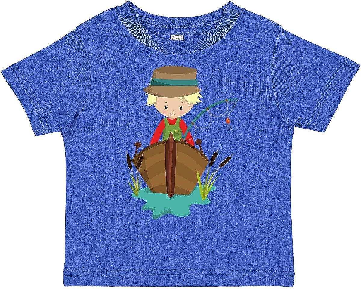 inktastic Fishing Boy, Fisherman, Fishing Rod, Blond Hair Toddler T-Shirt