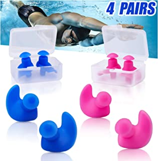 Jionchery Swimming Ear Plugs, 4 Pairs Waterproof Reusable Silicone Ear Plugs, Swimming Ear Plugs for Adults Kids, for Swimmers Showering Bathing Surfing and Other Water Sports …