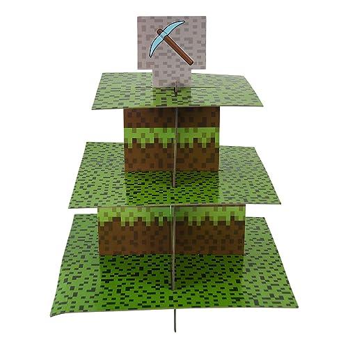 Mining Fun Cupcake Stand Pick Kit Pixel Decorations Minecraft Inspired Parties Birthdays