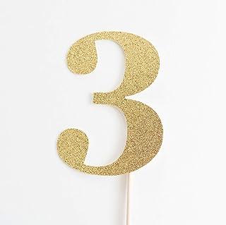 DKISEE Tarjetero con purpurina para 3 pasteles, 3, decoración de fiesta de tercer cumpleaños, I Am Three, purpurina dorad...