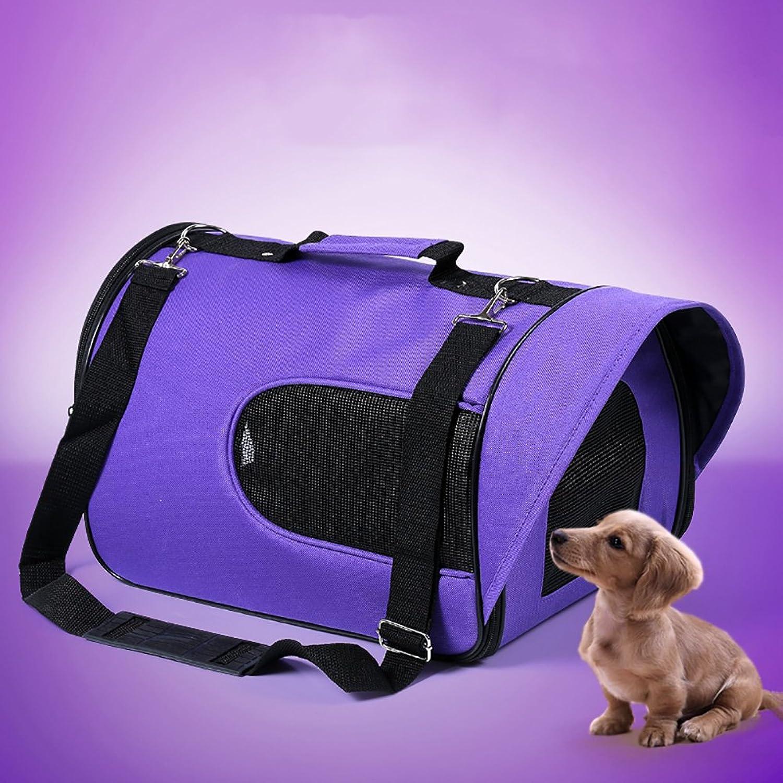 Pet Out Bag Cat Dog VIP Teddy Backpack Bag Space Capsule Travel Bag Portable Cat Bag Breathable Wearable 5 color Optional (color   Purple, Size   M)