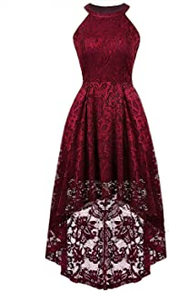 Vijiv Women's Floral Lace Hi-Lo Maxi Bridesmaid Dress Halter A-Line Formal Cocktail Party Dresses