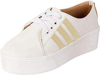 AUTHENTIC VOGUE Women's High Heel Casual & Party Wear White Sneakers with Gold Straps