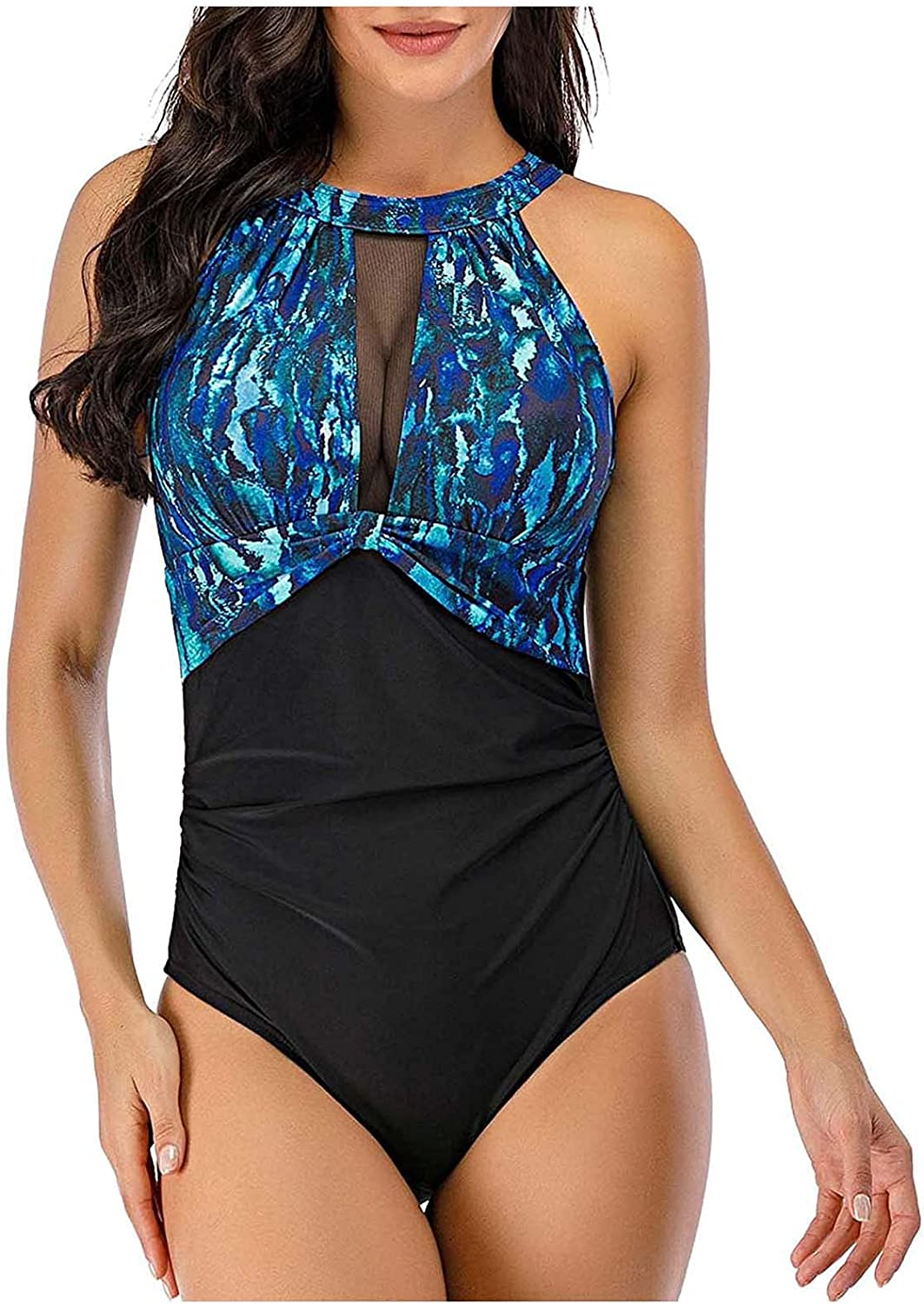 Women's One Piece Swimsuits Dallas Mall High unisex Neck Leaves Patchwork Print Mon