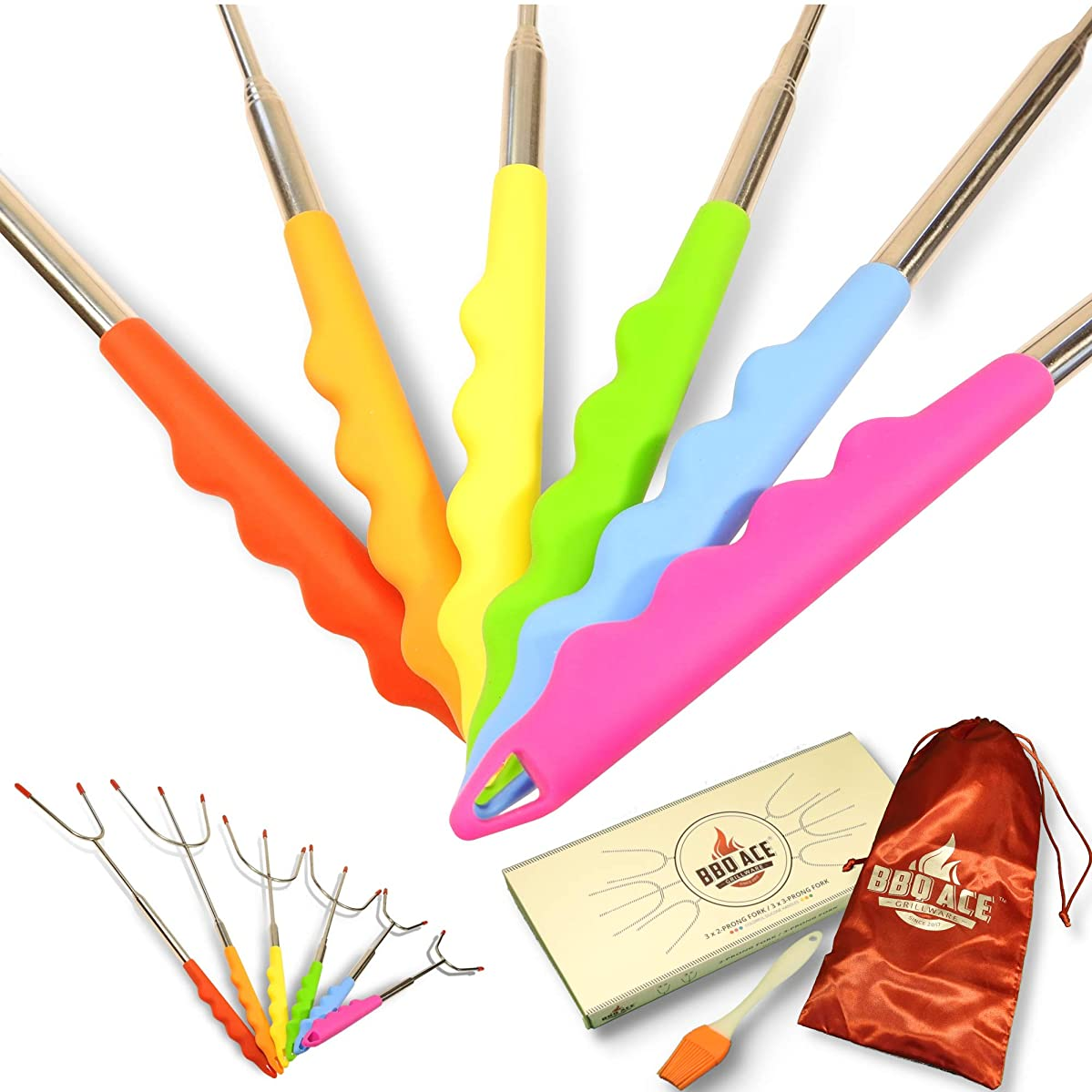 Marshmallow Roasting Sticks w Colorful Silicone Handles for Kids, Fire Pit, Campfire, Bonfire, Fireplace | 6 Extra Long Extendable Fork Skewers | SMORE, Hot Dog, Sausage, BBQ, Grilling, Camping