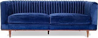 FOXLEY Blue Velvet Sofa - Midcentury Modern Sofa for Living Room - Channel Tufted