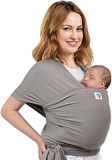 Baby Wrap Carrier Sling Holder - Grey - Toddler, Newborn, Infant, Child - Front, Hip and Kangaroo Holds - Ergonomic Baby W...
