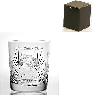 Vaso de whisky con corte grabado personalizable, 9oz con dis