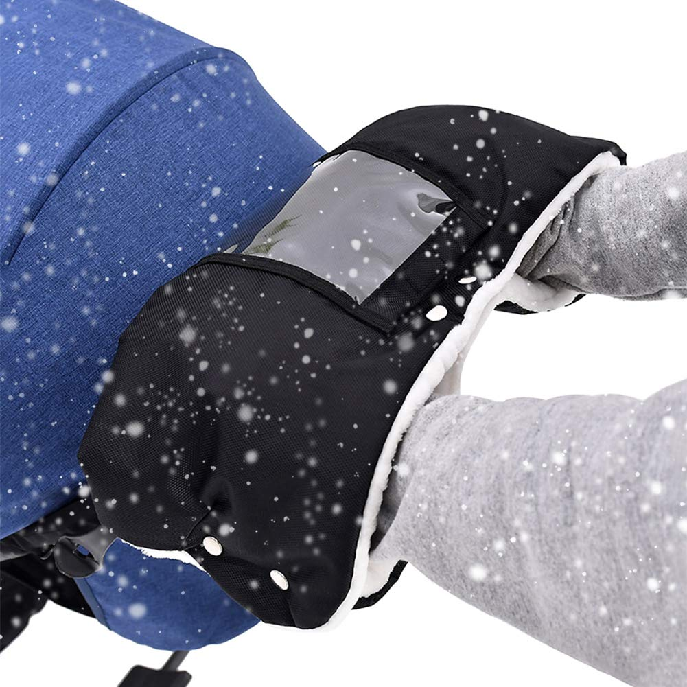NABLUE Stroller Hand Muff, Winter Anti-Freeze Gloves for Baby Stroller Jogger Pram Water Resistant Warmer Gift for Parents and Caregivers (Black)