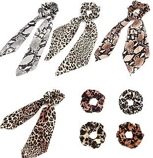 Kicosy 8 Pcs Leopard Print Big & Long Scrunchie, Polka Dot Snake Skin, Ribbon Chiffon Strong Elastic Hair Bands Rope Scrunchy, Bun Hair Ties Bobbles, Bow Ponytail Holder (Color 2)
