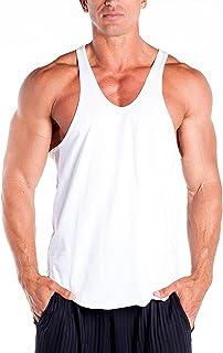 DK ACTIVE WEAR Men's 100% Cotton Curved Hem Gym Vest Bodybuilding Muscle Y Back Stringer/Racerback Vest