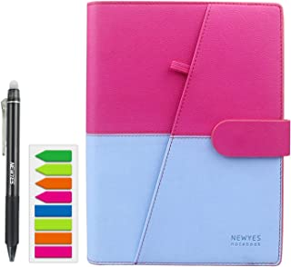NEWYES Erasable Reusable Smart Notebook PU Leather Hardcover Sketch Pads APP Storage A5 Size 100 pages (Blue & Pink)