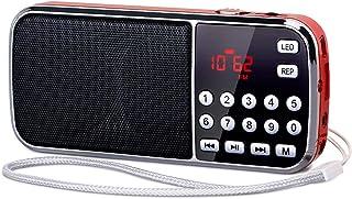 PRUNUS J-189 Digital Radio Bluetooth, AM FM Small Portable Radio Rechargeable,Dual Speakers Heavy Bass,LED Flashlight,Rech...