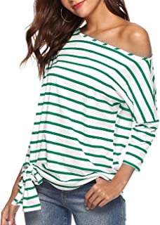 Womens Sexy Oblique Off Shoulder 3/4 Sleeve Colorful Striped Tunic T-Shirt Casual Loose Tie Front Blouse Top