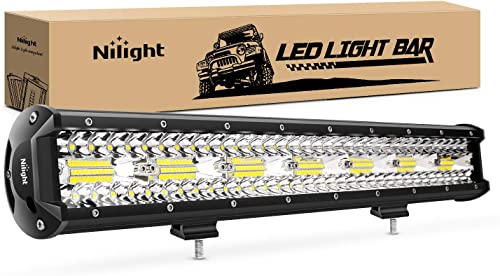 discount Nilight 18024C-A 420W 20Inch Triple Row Flood Spot Combo wholesale 42000LM Bar Driving Boat Led Off popular Road Lights for Trucks, 2 Years Warranty , White outlet online sale
