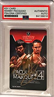 2012 MGM Hotel Key Manny Pacquiao Pacman Signed Trading Card Slabbed - PSA/DNA Certified - Autographed Boxing Cards