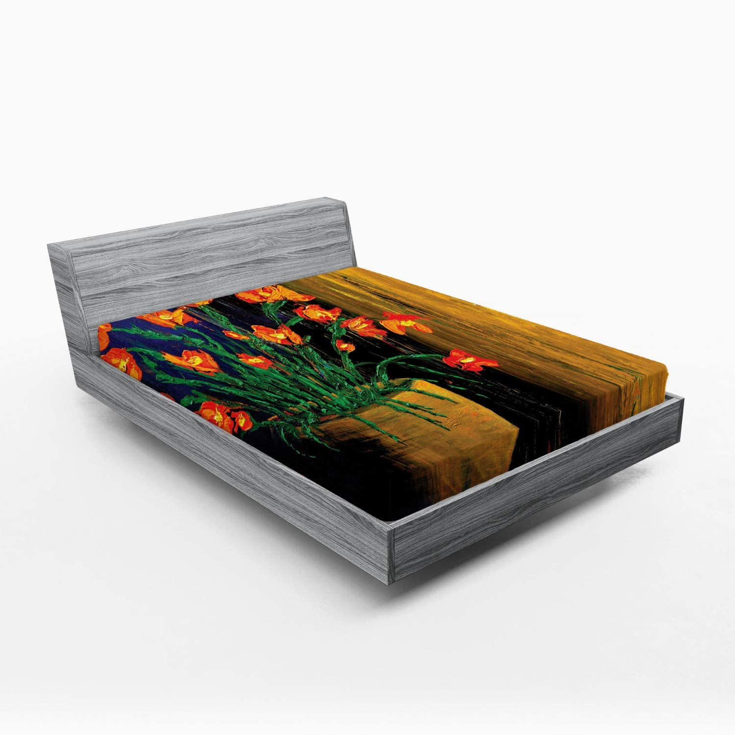 Ambesonne Flower Fitted Max 46% OFF Sheet 2021 autumn and winter new Oil Composition with Painting Bot