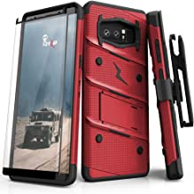 ZIZO Bolt Series Samsung Galaxy Note 8 Case Military Grade Drop Tested with Tempered Glass Screen Protector Holster RED Black