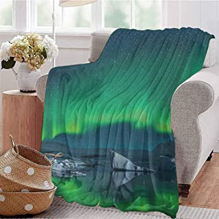 Alaska Bedding Microfiber Blanket Aurora Borealis Under The Starry Sky Hills of Arctic Northern Landscape Super Soft and Comfortable Luxury Bed Blanket W91 x L60 Inch Night Blue Lime Green
