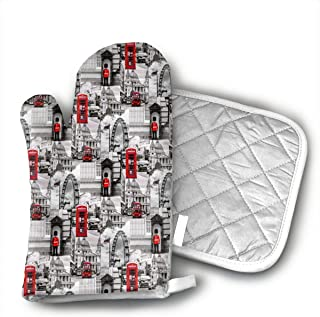 LALABULU Oven Mitts London Black White Red UK Britain Non-Slip Silicone Oven Mitts, Extra Long Kitchen Mitts, Heat Resistant to 500Fahrenheit Degrees Kitchen Oven Gloves