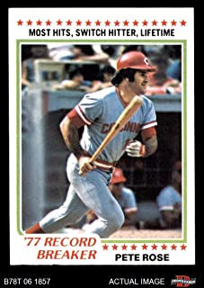 1978 Topps # 5 Record Breaker Pete Rose Cincinnati Reds (Baseball Card) Dean's Cards 7 - NM Reds