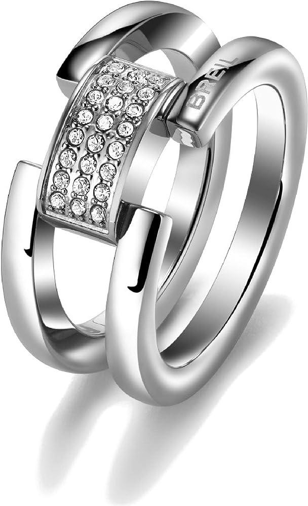 Breil anello donna collezione breilogy in acciaio lucido  con inserto al centro rivestito di cristalli TJ1637_-12