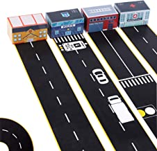 iPlay, iLearn 4 Rolls Road Tape w/ Design, 3 x 16inches, No Mess, Wall Decals, Track Stickers for Cars, Trucks, 4 Pretend Boxes, Birthday Gift for 3 4 5 Years Old Boys Girls Kids Toddlers Preschoolers