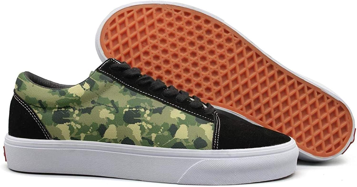 Uieort Army Military Leafy Camo Womens Lace Up Canvas shoes Comfortable