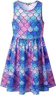 فساتين حورية البحر بدون أكمام للفتيات يونيكورن ملابس الصيف شاطئ هاواي