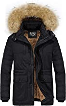 JYG Men's Winter Thicken Puffer Jacket Faux Fur Lined Quilted Coat with Removable Hood