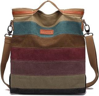 KAUKKO Handtasche Damen,KAUKKO Canvas Damen Stripe Stylisch Schultertasche Elegante Umhängetasche Bag für Mädchen Shopper