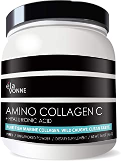 Amino Collagen C with Hyaluronic Acid (60 Servings _ 16oz _456g) - Non-GMO Marine Collagen Peptides - Hydrolyzed Powder - ...