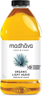 MADHAVA Organic Light Agave, 46 oz. Bottle (Pack of 2) | 100% Pure Organic Blue Agave Nectar | Natural Sweetener, Sugar Alternative | Vegan | Organic | Non GMO | Liquid Sweetener