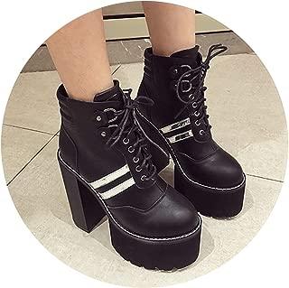 Lacing PU Leather Ankle Boots Shoes for Platform Heels Woman Short Boots Autumn Heel 15cm Shoes