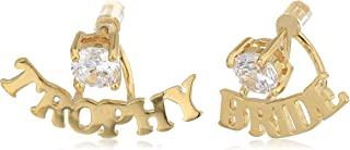 "betsey johnson""blue word play"" gold and cubic zirconia""trophy bride"" earring jacket"