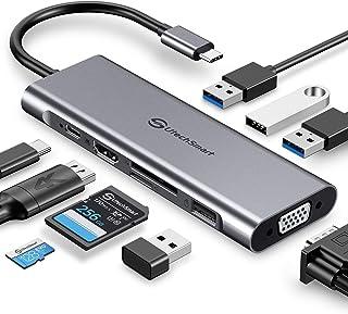 UtechSmart USB C Hub, 11 in 1 USB C Adapter with Gigabit Ethernet Port, PD Type C Charging Port, 4K HDMI, VGA, SD TF Card ...