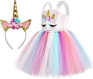 Girls Unicorn Costume|Rainbow Tutu Dress and Headband|Birthday Gifts for Girls