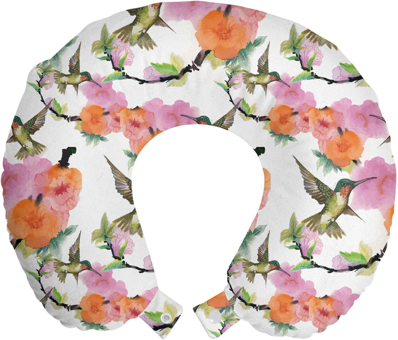 Ambesonne Hummingbird Travel Pillow Seattle Mall Max 56% OFF Watercolor Rest Effect Neck