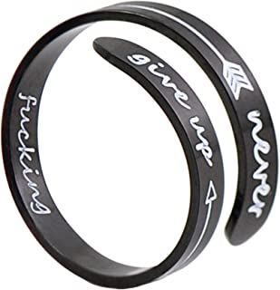 Adjustable Inspirational Silver Keep Going Ring Stainless Steel Adjustable Bands Cool Stacking Opening Gift for Women Statement