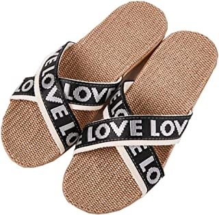 Slippers - Thick Soft Bottom Unisex Couple Beach Shoes Fashion Letters Cotton and Linen Non-slip Breathable