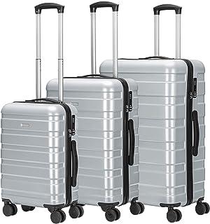 Amasava Set of Tres Maletas,Juego de Maletas Rígidas,Candado TSA,43L/65L/101L,ABS+PC,4 Ruedas multidireccional,Plateado