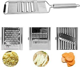 Herefun 4 en 1 Mandoline Classic de Cuisine, Professionnelle INOX, Multifonction Coupe Fruits et Légumes Manuel, Julienne ...