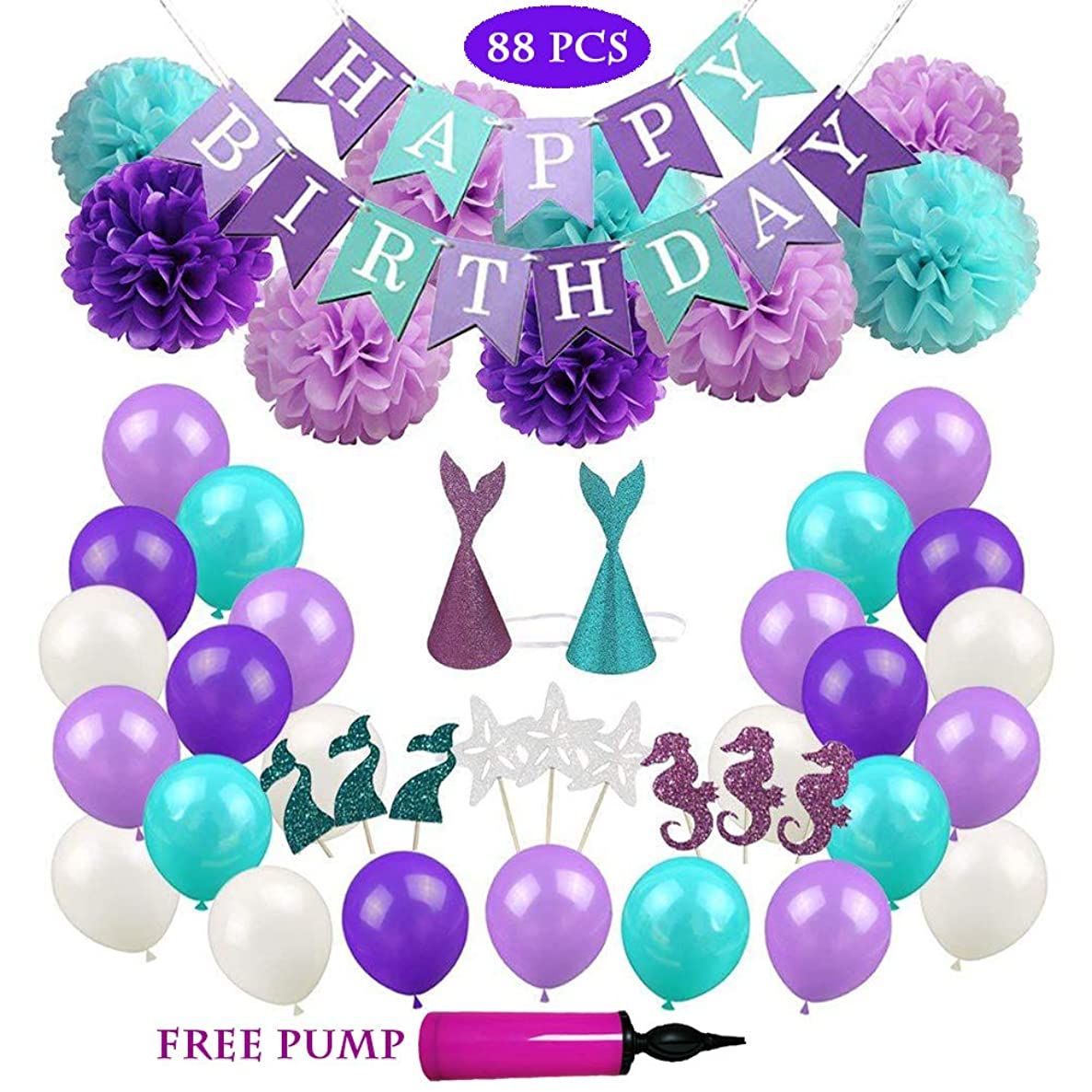Balloons Decoration for Girls and Women Party, Elegant Purple Mermaid Theme Birthday Balloons Set, Paper Pom Poms Flowers Cupcake Toppers and Hats All in One Pack, (88 pcs) Free Pump.