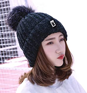 HiCool Knitted Hat, Women Winter Warm Knitted Pom Pom Beanie Hat Fleece Lined Knitted Bobble Cap Trendy Slouchy Beanie Thick Ski Cap for Women and Girls