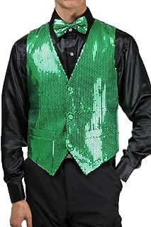 Men's Slim Fit 3 Button Sequin Vest Bow Tie