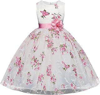 3be9e898e498fc AnKoee Bambina Filati Netti Ricamo Fiore Vestiti da Cerimonia Eleganti  Senza Maniche Matrimonio Partito Comunione Abiti