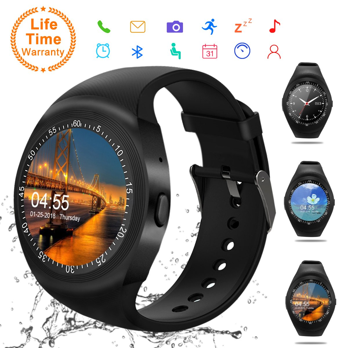 Android Smartwatch Bluetooth,Impermeable Reloj Inteligente,Bluetooth Tactil Telefono Smart Watch Sport Fitness Tracker Smartwatches Pulsera Inteligente para Android iOS iPhone Samsung Sony: Amazon.es: Electrónica